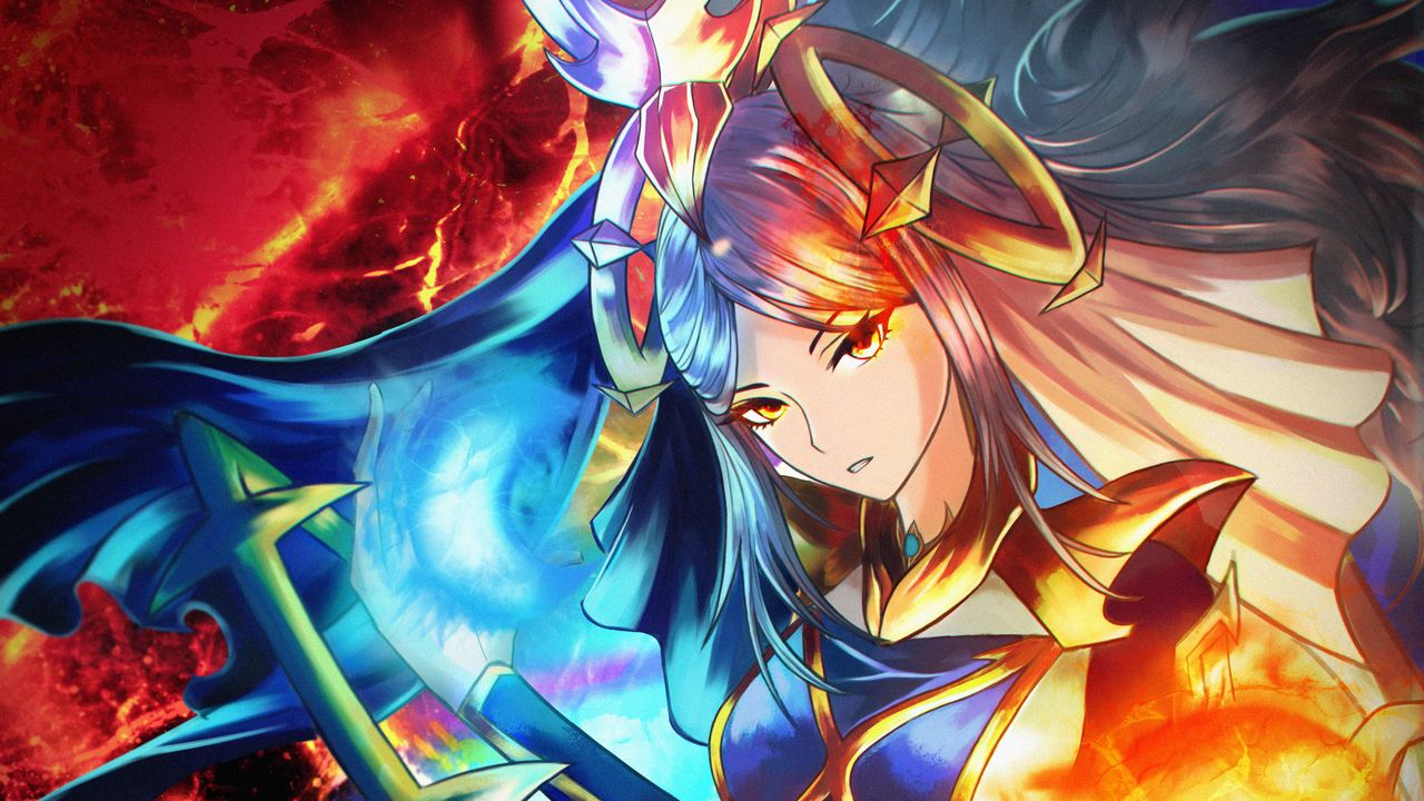 Wallpapergirl,magician,fireball,fantasy,anime,art高清壁纸免费下载