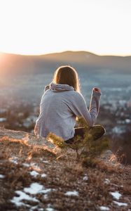 Preview wallpaper girl, meditation, nature, mountains