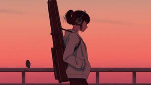 Preview wallpaper girl, musician, guitar, headphones, art