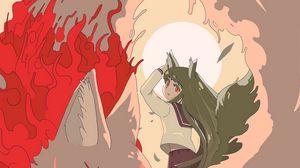 Preview wallpaper girl, neko, kitsune, anime, art