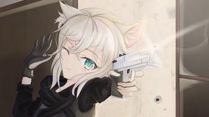 Preview wallpaper girl, neko, soldier, gun, shot, anime