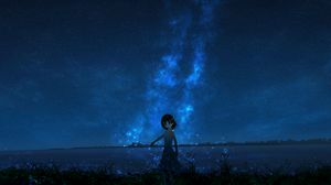 Preview wallpaper girl, night, starry sky, anime