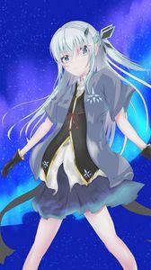 Preview wallpaper girl, northern lights, aurora, anime, art
