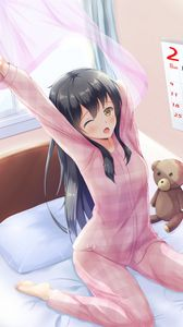 Preview wallpaper girl, pajamas, bed, morning, anime, art, cartoon
