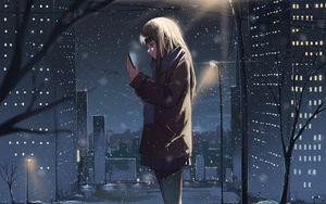 Preview wallpaper girl, phone, snow, winter, anime