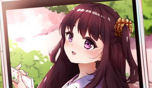 Preview wallpaper girl, photo, phone, interface, anime