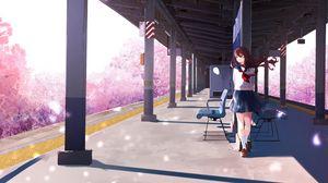 Preview wallpaper girl, platform, sakura, petals, anime, art