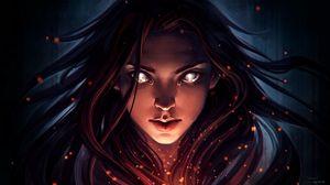 Preview wallpaper girl, portrait, face, view, art, dark