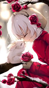 Preview wallpaper girl, rabbit, happiness, smile, roses, anime