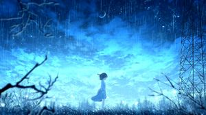 Preview wallpaper girl, rain, anime, light, bright