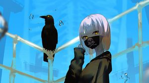 Preview wallpaper girl, raven, skull, bones, anime
