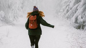 Preview wallpaper girl, run, snow, winter, nature