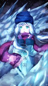 Preview wallpaper girl, scarf, winter, ice, anime, art, cartoon
