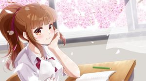 Preview wallpaper girl, schoolgirl, note, anime, art