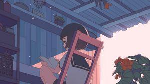 Preview wallpaper girl, schoolgirl, reading, anime, art