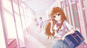 Preview wallpaper girl, schoolgirl, school, petals, anime, art, pink
