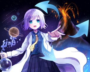 Preview wallpaper girl, scientist, science, anime, art