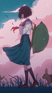Preview wallpaper girl, shell, hare