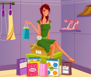 Preview wallpaper girl, shop, diversity, shopping