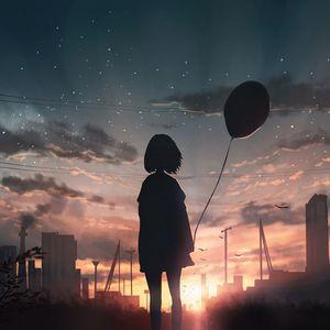 Preview wallpaper girl, silhouette, balloon, starry sky, sunset