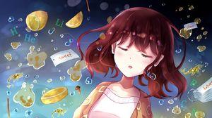 Preview wallpaper girl, sleep, pajamas, anime, art
