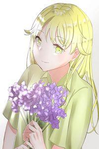 Preview wallpaper girl, smile, bouquet, anime, art, light