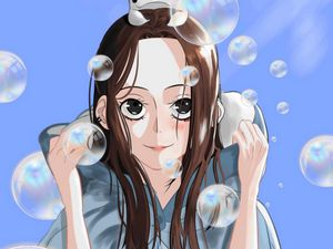 Preview wallpaper girl, smile, bubbles, anime, art