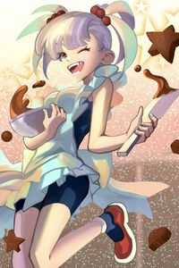 Preview wallpaper girl, smile, cookies, pastries, anime