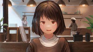 Preview wallpaper girl, smile, dessert, date, anime, art