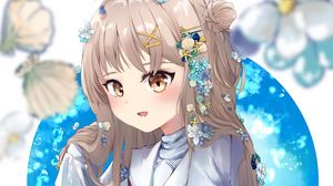 Preview wallpaper girl, smile, flowers, jewelry, anime, art