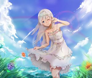 Preview wallpaper girl, smile, gesture, field, summer, anime