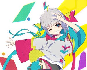 Preview wallpaper girl, smile, gesture, anime, bright