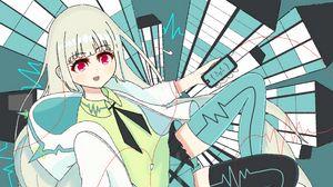 Preview wallpaper girl, smile, glance, anime, art, green