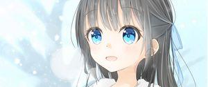 Preview wallpaper girl, smile, joy, snow, winter, anime