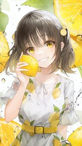 Preview wallpaper girl, smile, lemons, lemonade, drops, yellow, anime