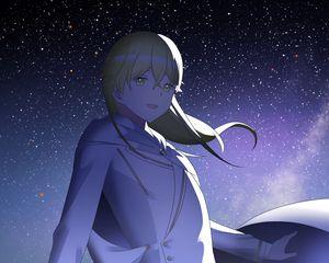 Preview wallpaper girl, smile, stars, sky, night, anime