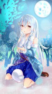 Preview wallpaper girl, snow, snowflake, winter, anime, art