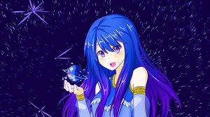 Preview wallpaper girl, space, anime, moon, planet