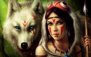 Preview wallpaper girl, spear, warrior, wolf