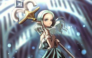 Preview wallpaper girl, staff, fantasy, anime, art
