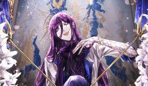 Preview wallpaper girl, staffs, temple, anime, art