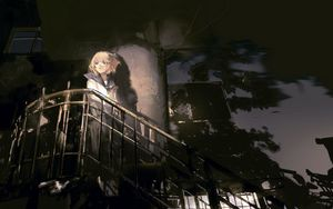 Preview wallpaper girl, stairs, anime, art
