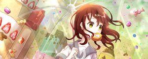 Preview wallpaper girl, sweets, umbrella, anime, art, cartoon