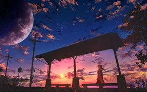 Preview wallpaper girl, twilight, clouds, anime