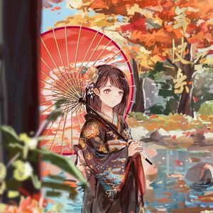 Preview wallpaper girl, umbrella, anime, kimono, garden, autumn