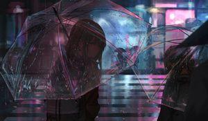 Preview wallpaper girl, umbrella, anime, rain, street, night