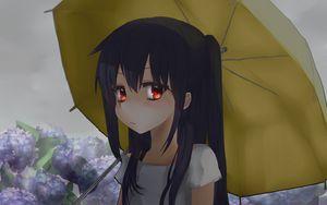 Preview wallpaper girl, umbrella, hydrangea, garden, anime, art