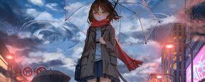 Preview wallpaper girl, umbrella, anime, rain, sadness