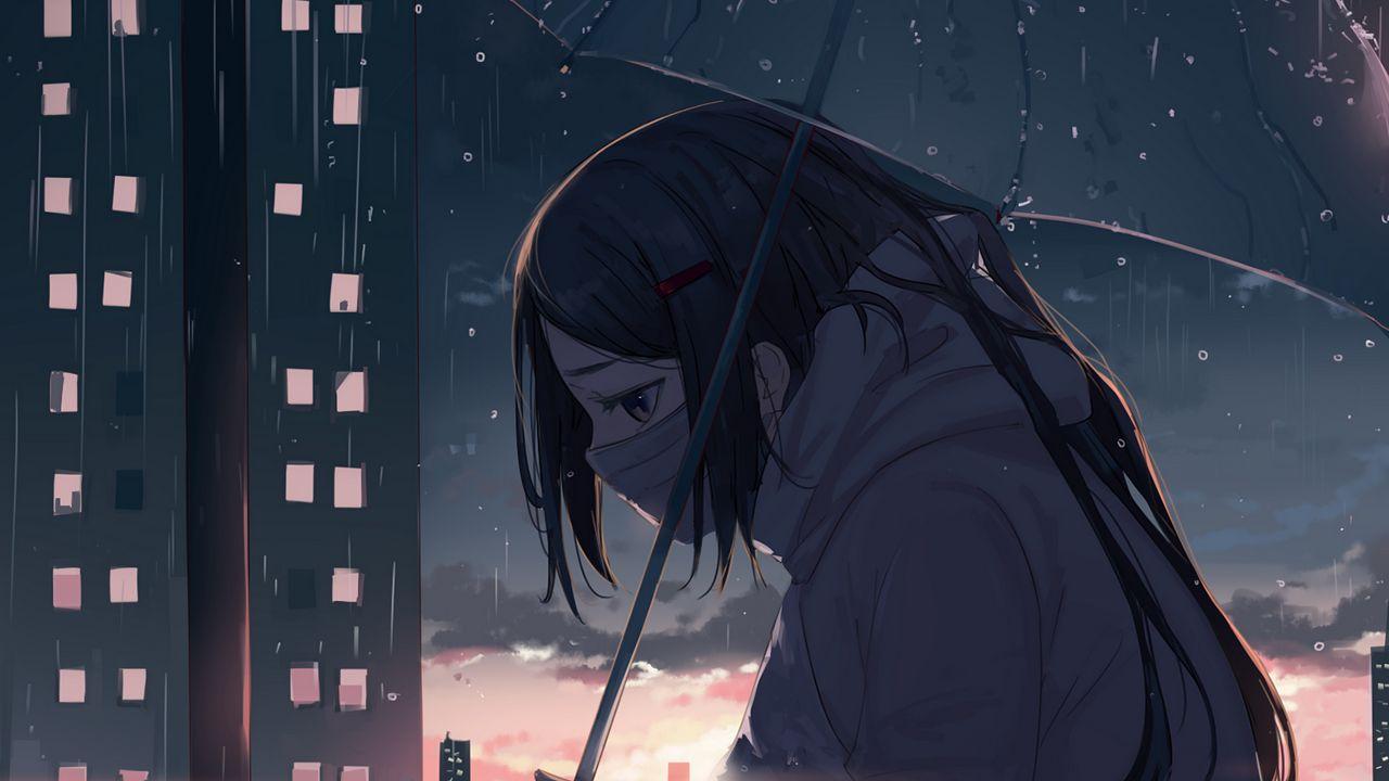 Wallpapergirl,雨伞,雨,悲伤,动漫高清壁纸免费下载