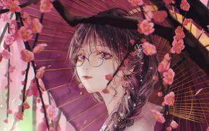 Preview wallpaper girl, umbrella, sakura, kimono, glasses, anime